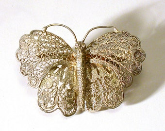 Mexican Silver Butterfly Brooch