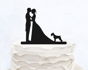 Custom Cake Topper_Wedding Cake Topper with dog_Couple Silhouette personalized_Bride And Groom Cake Topper_Unique Cake Topper