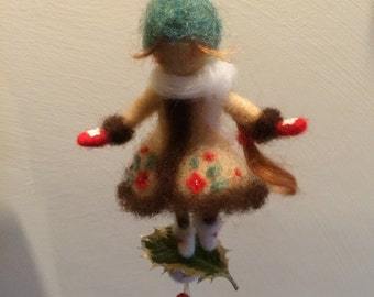 "Needle felted doll Waldorf inspired Wool fairy ""First snow"" Christmas décor Home decor Art doll Doll miniature,Gift"