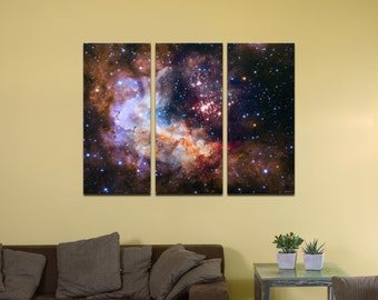 "Celestial Fireworks, Hubble 25th Anniversary HD Space Photo - 48"" x 36"", 3-Piece Split Canvas Wall Mural"