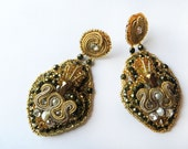 Soutache Earrings embroidered with glass beads and little freshwater pearls