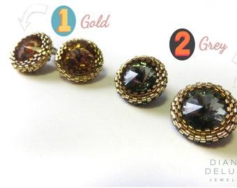 Swarovski stud earrings , rivoli earrings , beaded studs , delica bead jewellery , crystal bijoux