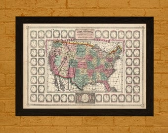 Time Zone Map of USA 1865 - Ancient Map Wall Art Antique Map Poster Old Map Prints Usa Map New York Time Zone Map Gift Idea