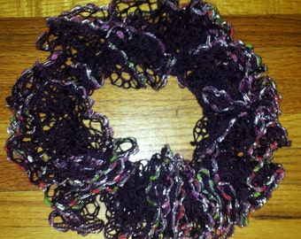 Dark Purple Infinity like Ruffle Scarf