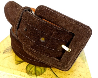 Espresso brown suede leather belt by Ralph Lauren. Classic & timeless style. Really soft hand feel.