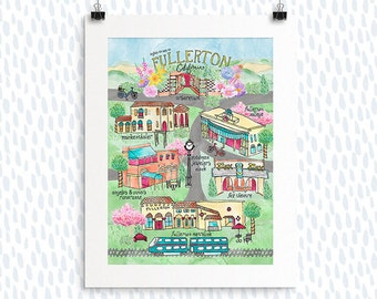 Fullerton California, Map Print, Illustration, Watercolor, City Map, Painted Map, Hand-lettering, Going Away Gift, House Warming Gift, Map