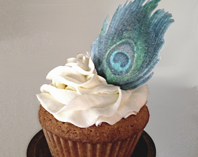 Edible Peacock Feather, Double-Sided Wafer Paper Toppers for Cakes, Cupcakes or Cookies