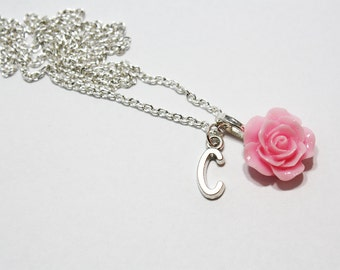 Personalized Rose Necklace, Initial Necklace, Resin Rose Necklace, Mother's Day Gift