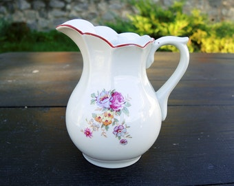 Old Creamer Milk Jug with Flower Decoration