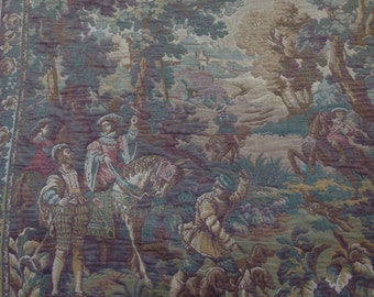 Wall Tapestry, Antique Tapestry, Wall Hanging, Weaving Gobelin, Hunting Scene, Collectables, French Tapestry, French Home Decor