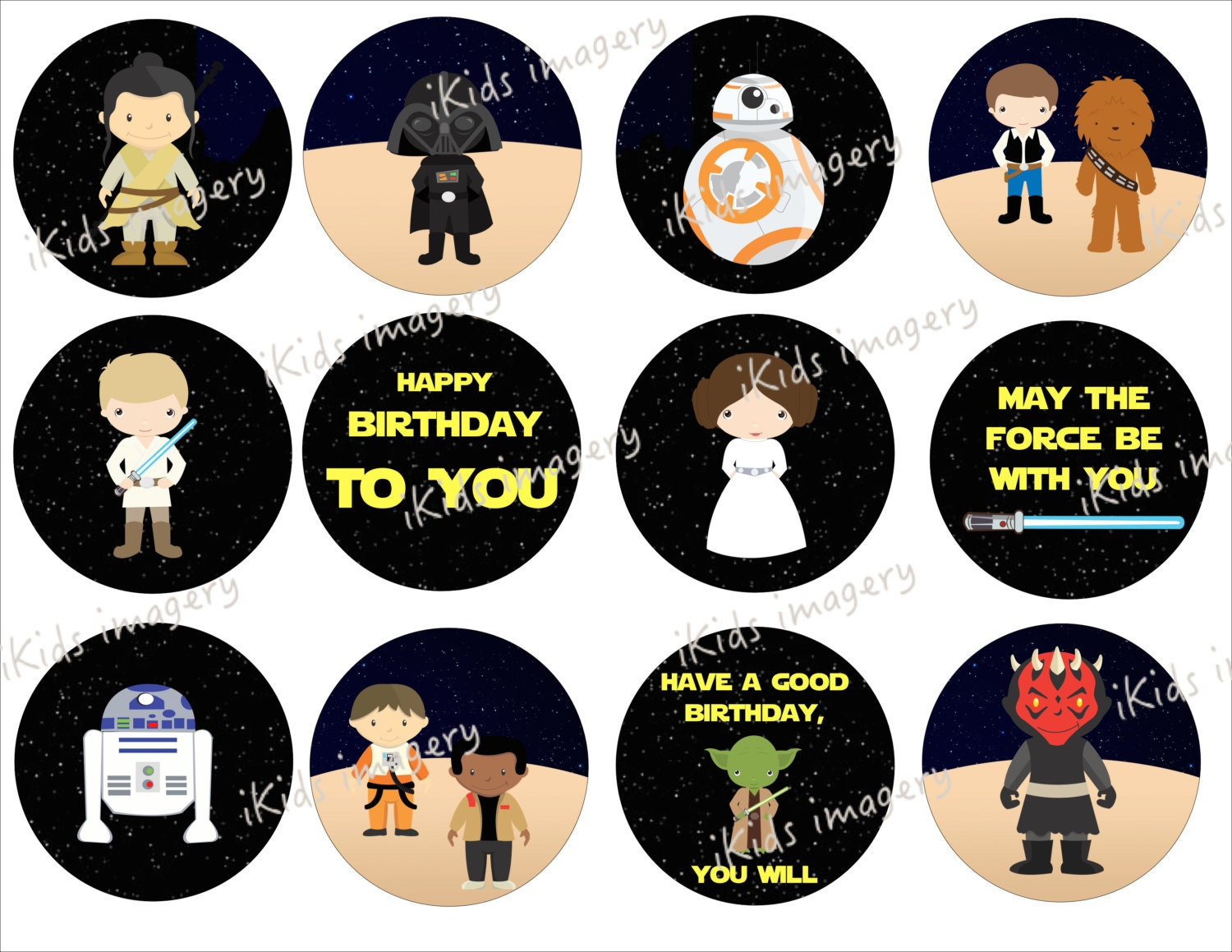STAR WARS The Force Awakens Cupcake Toppers: Rea BB8 Lea