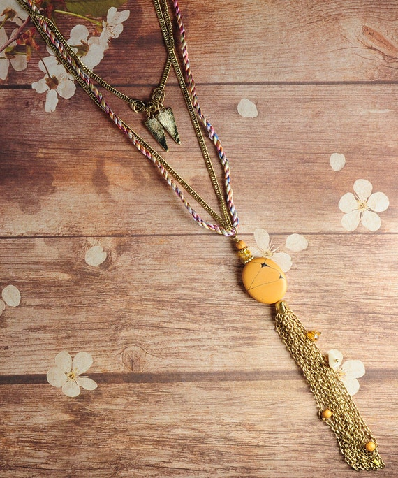 Boho Chic Stone Long and Layered Necklace Ochre Yellow Multi Strands