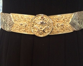 Vintage Judith Leiber python belt with gold ancient Chinese mask buckle