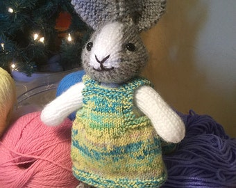 Made to Order - Hand Knit Dutch Bunny, Plush Toy, Stuffed Animal
