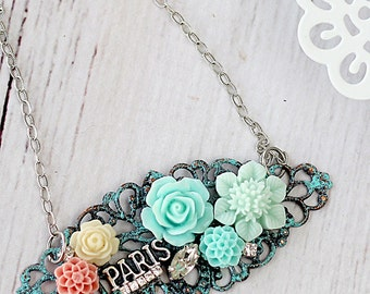 Mint Green Necklace - Paris Necklace -Aqua Necklace - Bridesmaid Necklace Gift - Romantic Necklace - Flower Jewelry - Flower Necklace