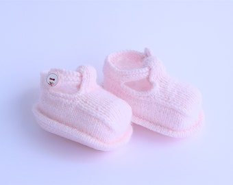 Pink Baby Booties, Knitted Baby Girl booties