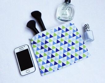 Triangle Print Zipper Pouch, Bag Organiser, Zipper Bag, Cosmetic Pouch, Geometric Zipper Pouch, Blue Cosmetic Case, Orange Zipper Pouch