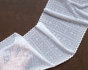 Stretch Lace white color, white lace fabric, Elastic lace white, wide lace, Lace trim, width 8,14 inch, lace 20,7 sm, lace per metre Nr 1194