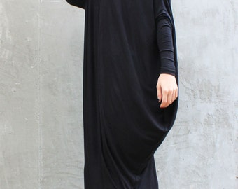 Maxi Black Dress/ Plus Size Dress/ Extravagant Loose Dress/ Raglan Tunic/ Asymmetric Oversize Dress by Fraktura D0014