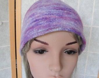 lilac felt knit hat, womens felt cap, alpaca knit beanie, purple multi hat, one-of-a-kind felt cap, mauve-lilac mix hat, felted winter hat