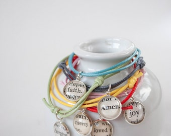 Custom Word Bracelet, Cord Charm Bracelet, Arm Party Stackable Bracelets, Inspirational Gifts for Girls
