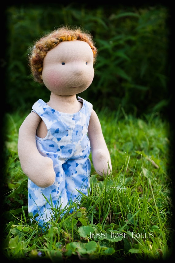 boy waldorf doll, all natural cloth doll, stuffed toy, CPSC compliant, curly hair, strawberry blonde, reversible coveralls