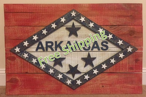 Rustic Arkansas Flag Constructed From Reclaimed/Repurposed Wood (Free Shipping)