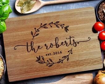 Custom Cutting Board, personalized cutting Board,Wedding Monogram,  kitchen sign (157B)