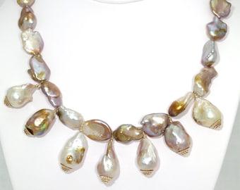 BN053- Large Keshi Reborn Freshwater Pearl necklace