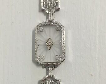 Antique Art Deco Filigree Camphor Glass Bracelet-14k White Gold-Diamond