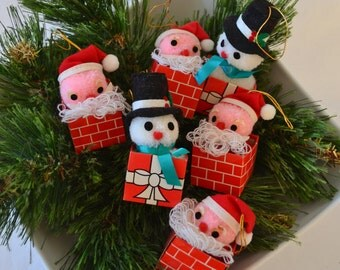 Vintage Santa And Snowman Cardboard And Yarn Christmas Ornaments From JC Penny