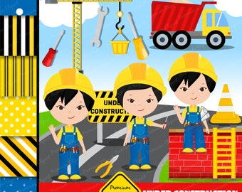 Construction clipart, Asian boy clipart, Construction party images, Digital images, instant download, commercial use - CLA04