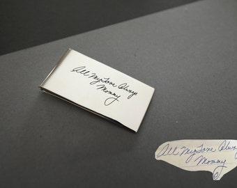 30% OFF -- Memorial Signature Money Clip - Handwriting Money Clip - Keepsake MoneyClip in Sterling Silver - Father's Gift - Groomsmen Gift