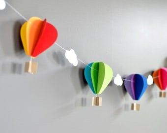SINGLE Horizontal Strand Hot Air Balloon Garland, Up Up and Away, Rainbow, Birthday Party Decor, Nursery Decor, Photo prop, Shower Decor