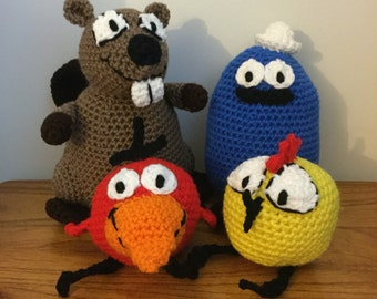 Made to Order: Crochet Amigurumi Beaver, Duck, Robin, and Chicken Set--FREE SHIPPING
