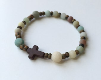 Amazonite and Czech Glass Single Decade Rosary Bracelet