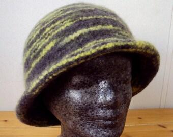 Knitted Hat felted - Felt Hat Grey Yellow - Safari
