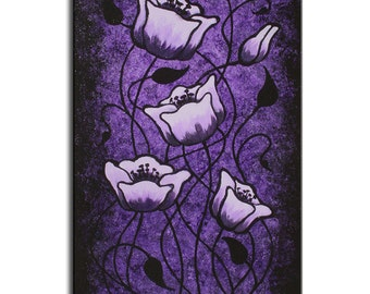 Surreal Lavender Poppies Purple Painting, Dark Whimsical Long Painting, Abstract Floral Art,  Dark Painting, Gothic Art, Purple Room Decor