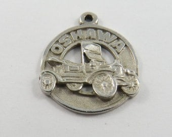 Oshawa Ontario with Fancy Roadster in Center Sterling Silver Charm or Pendant.