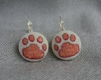 Gift for her Dog paw earrings Cross stitch jewelry Embroidered earrings Paw jewelry Beige earrings Dog jewelry Hand embroidered Pets gift