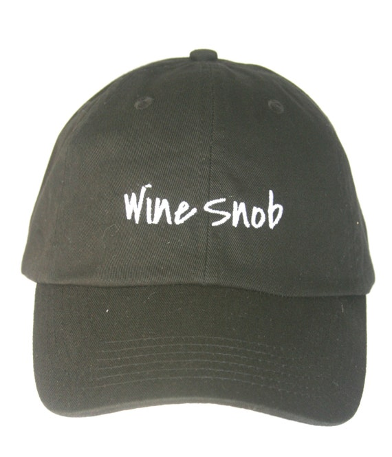 Wine Snob - Polo Style Ball Cap (Black with White Stitching)