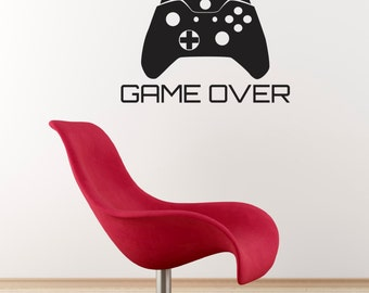 Game Over Wall Sticker/ Games Console Controller Wall Sticker