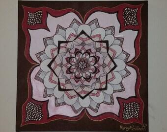 Original Hand-Drawn Original Burgundy Mandala