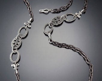 Gunmetal and Silver Chain Necklace