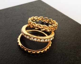 Vintage costume lot of three golden ring, vintage jewels, vintage rings-set of three golden rings, costume jewelry, vintage jewelry era