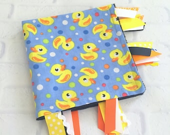 Duck Baby Tag Blanket - Baby Minky Blanket - Ribbon Tag Sensory Blanket - Security Baby Blanket - Baby Gift - Baby Shower Gift - Baby Items