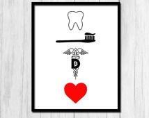 Dentist Gift Digital Download Gift for Dentist Tooth Print Dental Decor Instant Download Dentist Print Dental Office Decor Printable Art