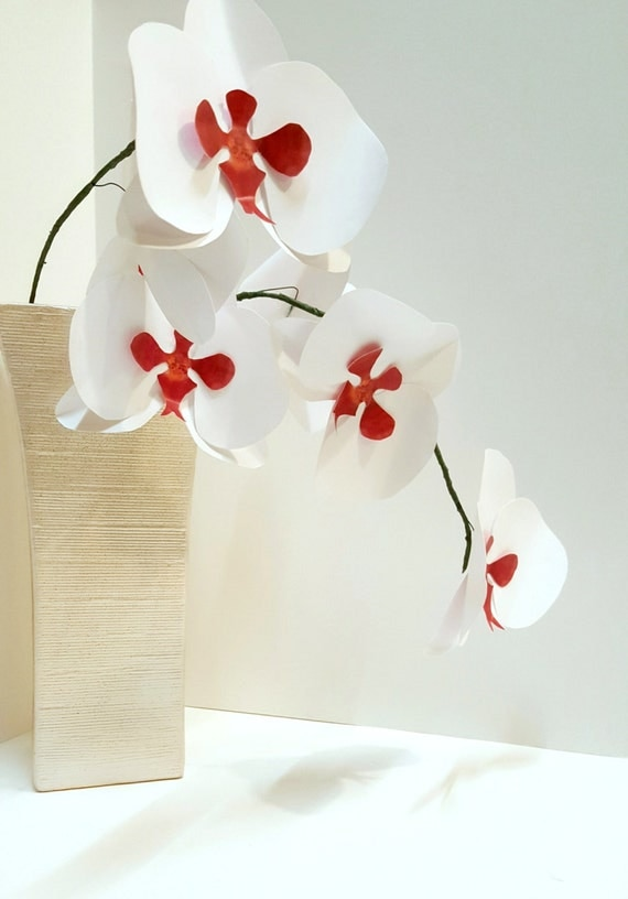 White paper orchid stems flower bouquet wedding