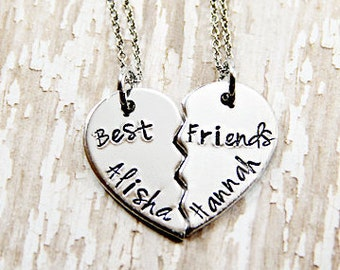 Best Friend Necklace - BFF Necklace - Personalized - Hand Stamped - Broken Heart Best Friend Necklace - Name Necklace - Charm Necklace