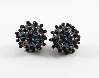 Disco Earrings, Vintage Disco Screwback earrings, Disco Black Multi color Vintage Earrings, Disco Screw Back Back Earrings
